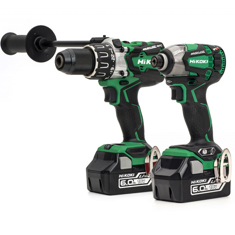 HiKOKI KC18DPL2/JAZ 18V 2 pce Cordless Brushless Kit - Combi Drill & Impact Driver Kit - 2 x 6.0Ah Batteries - Charger - 2 x Cases